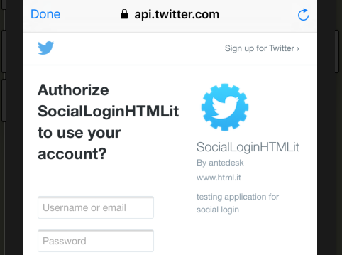 Schermata di autenticazione di Twitter