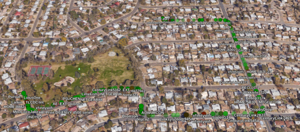Visualizzazione google earth delle reti scoperte da GISKismet