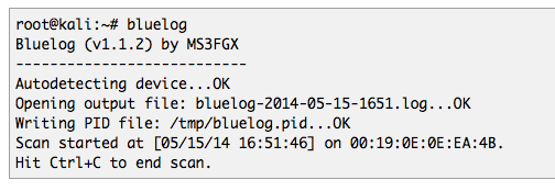 Bluelog output