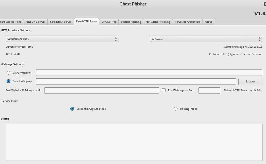 Scheda per la creazione di un fake HTTP server su Ghost Phisher