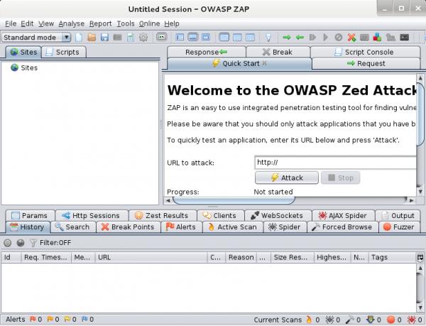 Interfaccia grafica di ZAProxy
