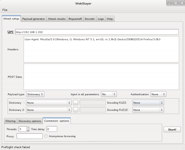 Interfaccia grafica di WebSlayer