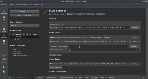 Opzioni di compilazione ed esecuzione del progetto