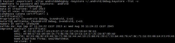 Output del comando keytool