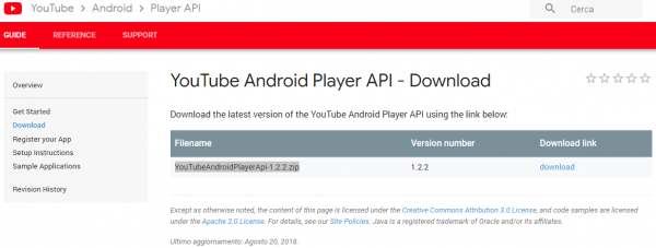 Sezione Download delle YouTube Android Player API
