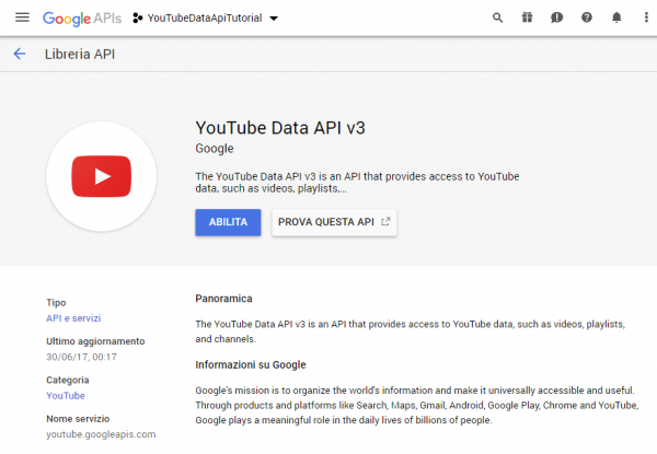 Scheda della libreria YouTube Data API v3