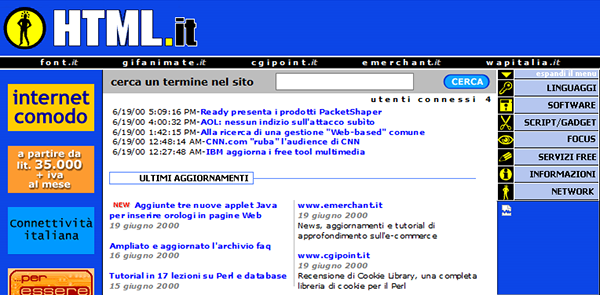 Il layout di HTML.it nel 2000