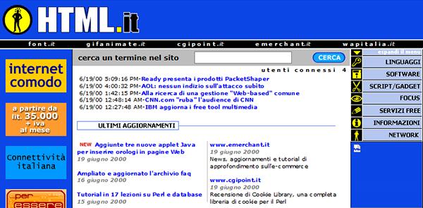 Il layout di HTML.it nel 2000