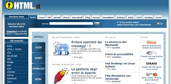 Il layout di HTML.it nel 2006