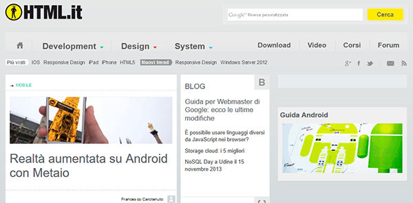 Il layout di HTML.it nel 2013