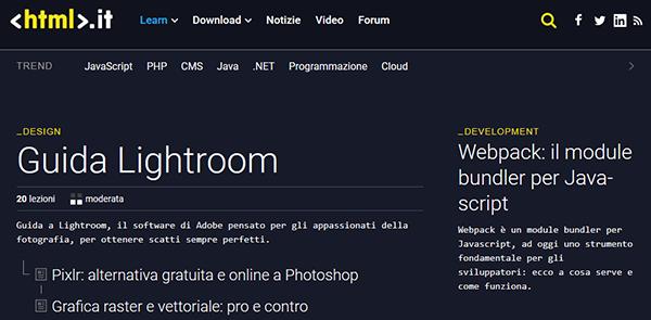 Il layout di HTML.it nel 2018