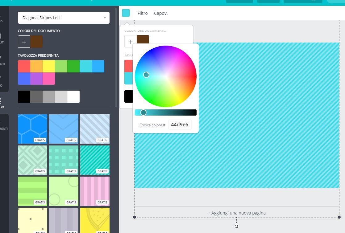 Scelta dello sfondo del progetto e modifica del colore