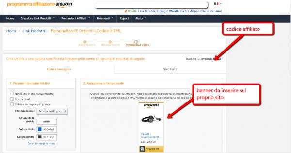 Pannello di affiliazione Amazon