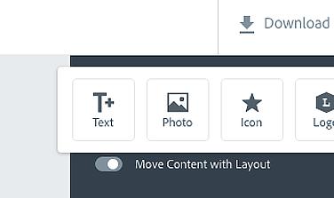 Pulsanti per l'inserimento di ulteriori elementi su Adobe Spark