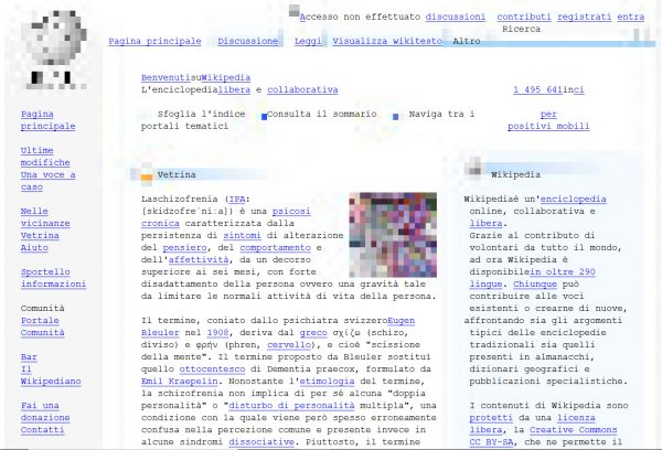 La homepage di Wikipedia visualizzata su Browsh