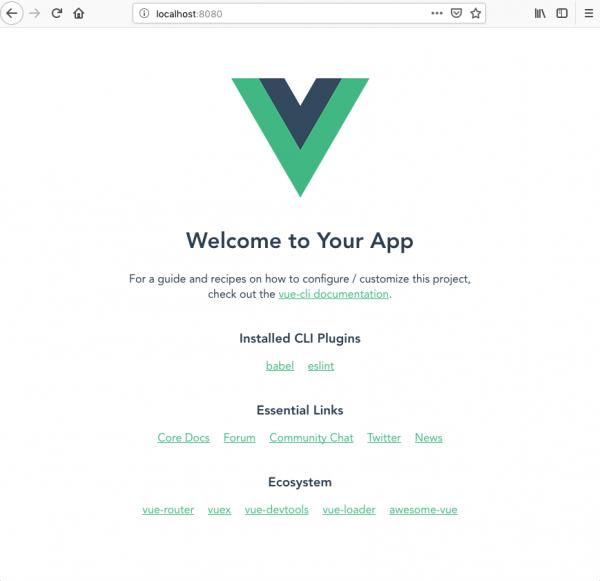 Pagina di default di un nuovo progetto Vue.js