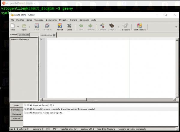 Esecuzione di Geany sul desktop di Windows