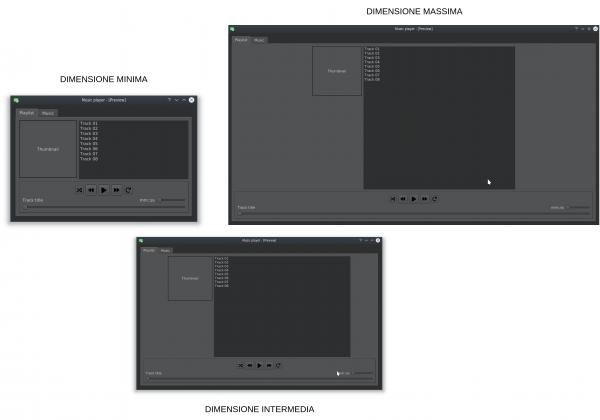 Variazioni del layout al variare delle dimensioni della finestra