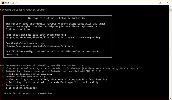 Possibile output del comando flutter doctor con alcune problematiche di configurazione