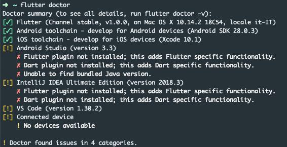 Output del comando flutter doctor