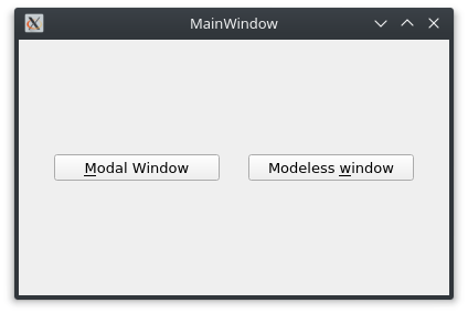 Finestra principale con due pulsanti per la apertura di finestre modali e non modali