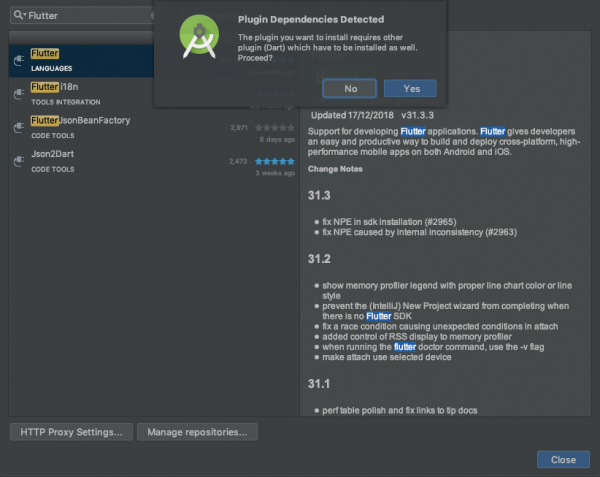 Schermata di richiesta di installazione del plugin per Dart