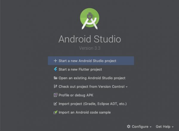 Schermata di iniziale di Android Studio con la possibilità di creare un nuovo progetto con Flutter