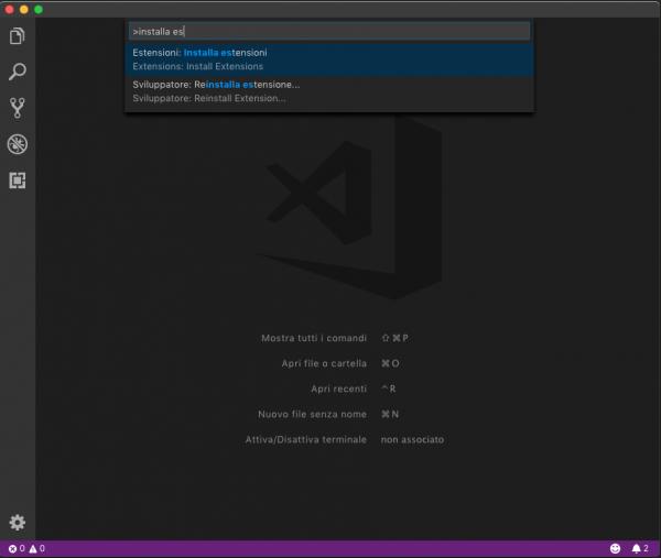 Riquadro comandi di Visual Studio Code