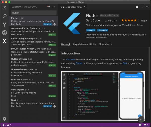 Riquadro di installazione delle estensioni con Flutter selezionato e installato
