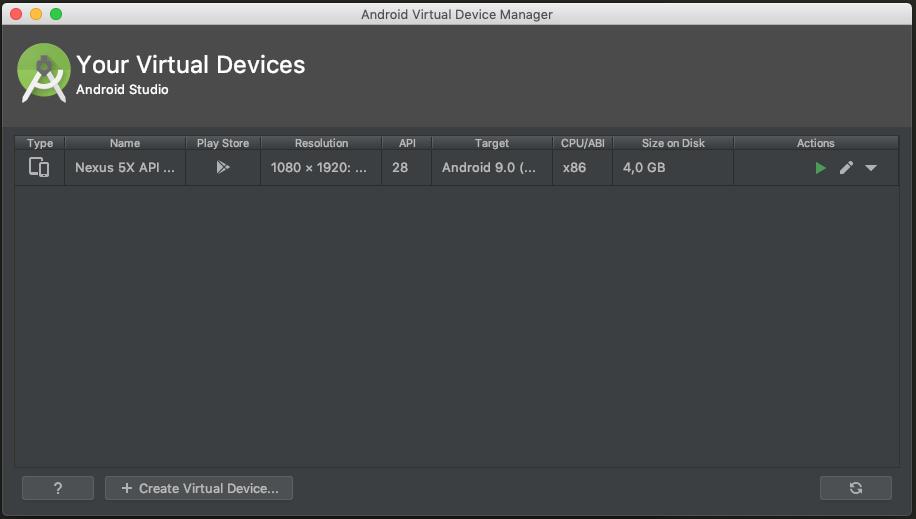 Schermata di gestione degli AVD