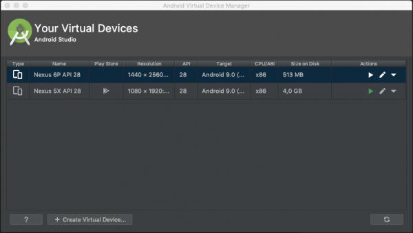 Schermata di gestione degli AVD con il nuovo dispositivo virtuale
