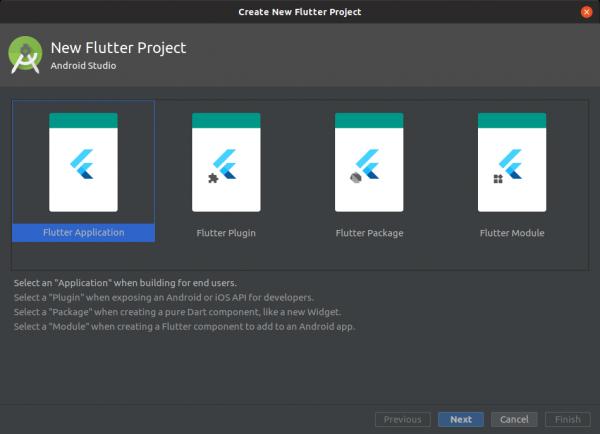 Schermata di creazione di un nuovo progetto basato su Flutter