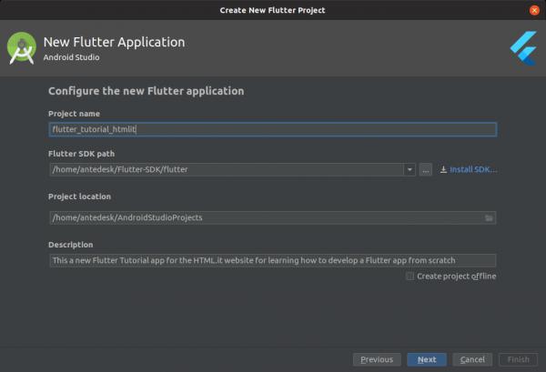 Configurazione della nuova app Flutter