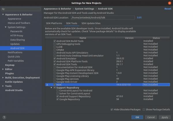 Schermata di gestione della SDK di Android per l'installazione della NDK