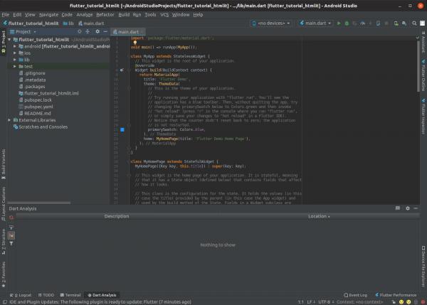 Nuovo progetto Flutter su Android Studio