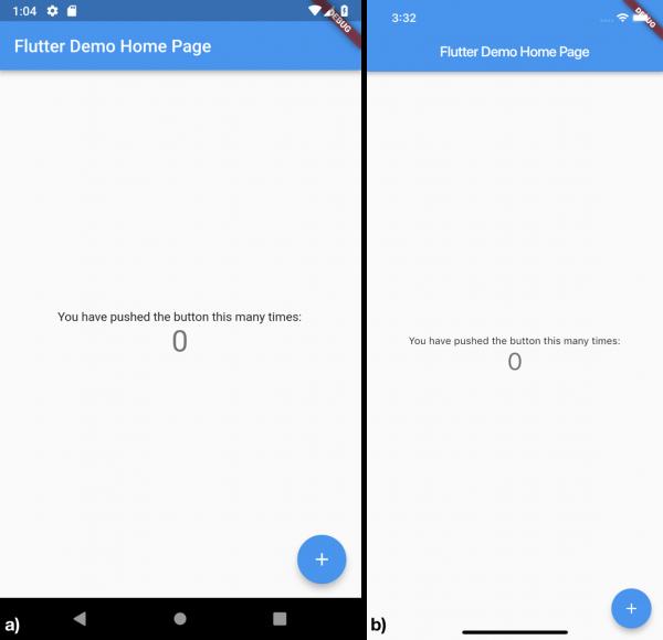 Esecuzione dell'applicazione sull'emulatore a) Android, b) iOS