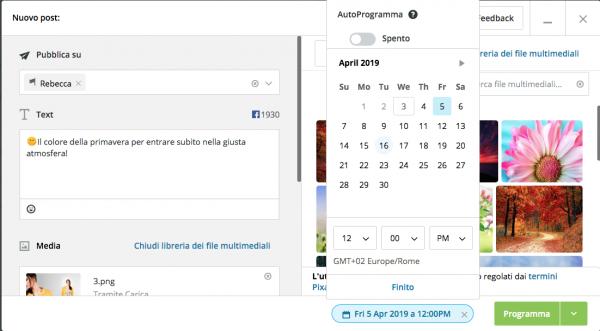 Programmazione dei contenuti tramite Hootsuite