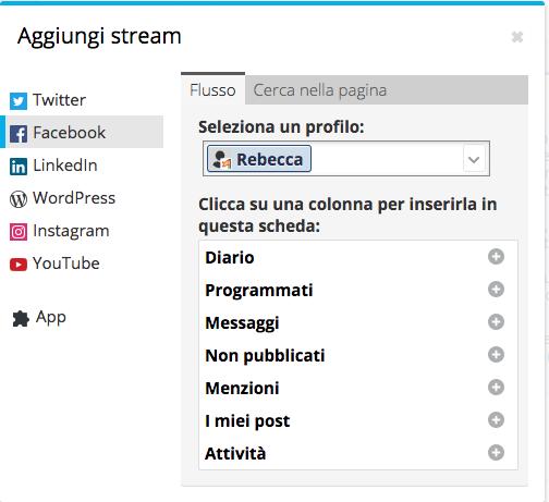 Creazione degli stream su Hootsuite - passo 2