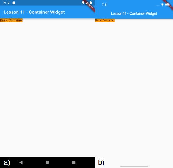 Visualizzazione di un Container basilare per a) Android e b) iOS