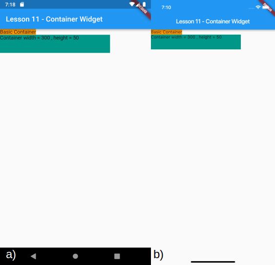 Visualizzazione del Container con le dimensioni impostate e del precedente Container per a) Android e b) iOS