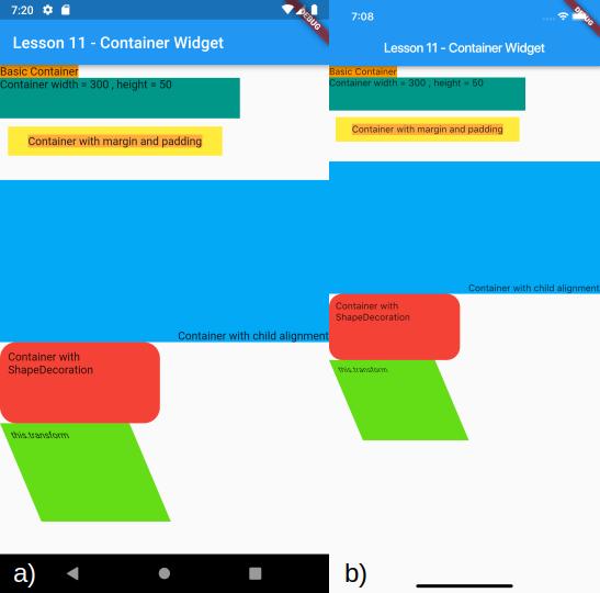 Visualizzazione del Container ruotato e dei precedenti Container per a) Android e b) iOS