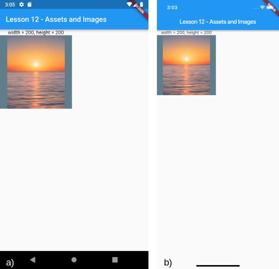 Caricamento di un'immagine tramite asset con dimensioni prefissate per a) Android e b) iOS