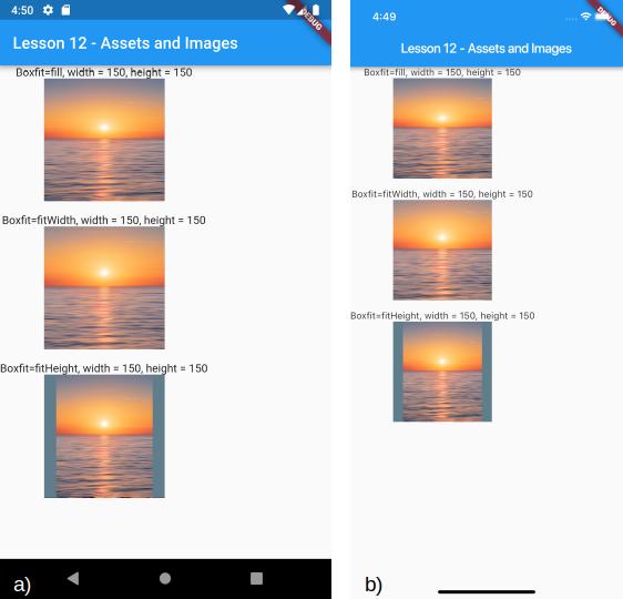 Caricamento di una immagine tramite asset definendo la proprietà fit per a) Android e b) iOS