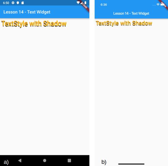 Visualizzazione di un Text widget con ombreggiature