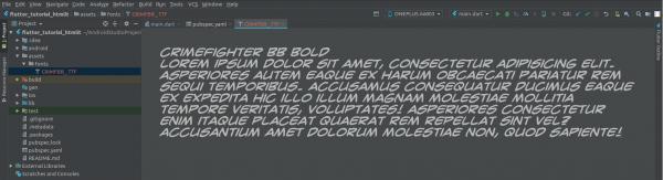 Visualizzazione del font caricato