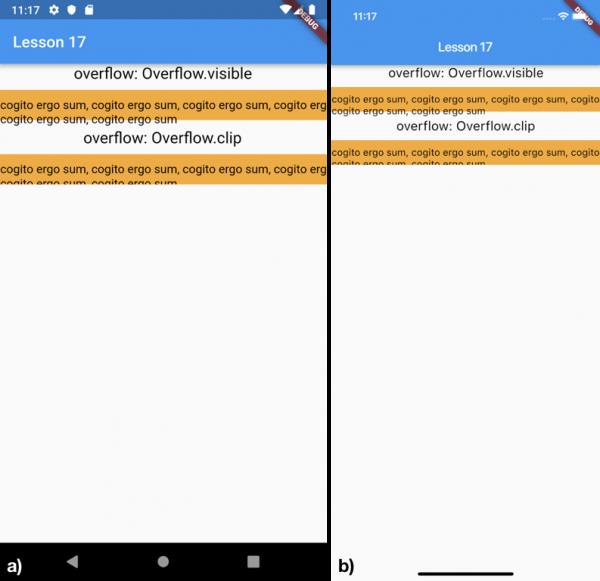 Esempio di utilizzo della proprietà overflow per a) Android e b) iOS