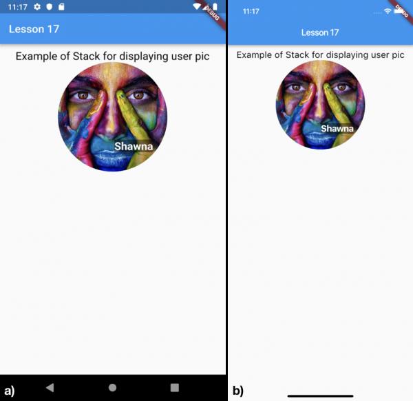 Utilizzo di uno Stack widget per la visualizzazione di un'immagine e di un nome utente