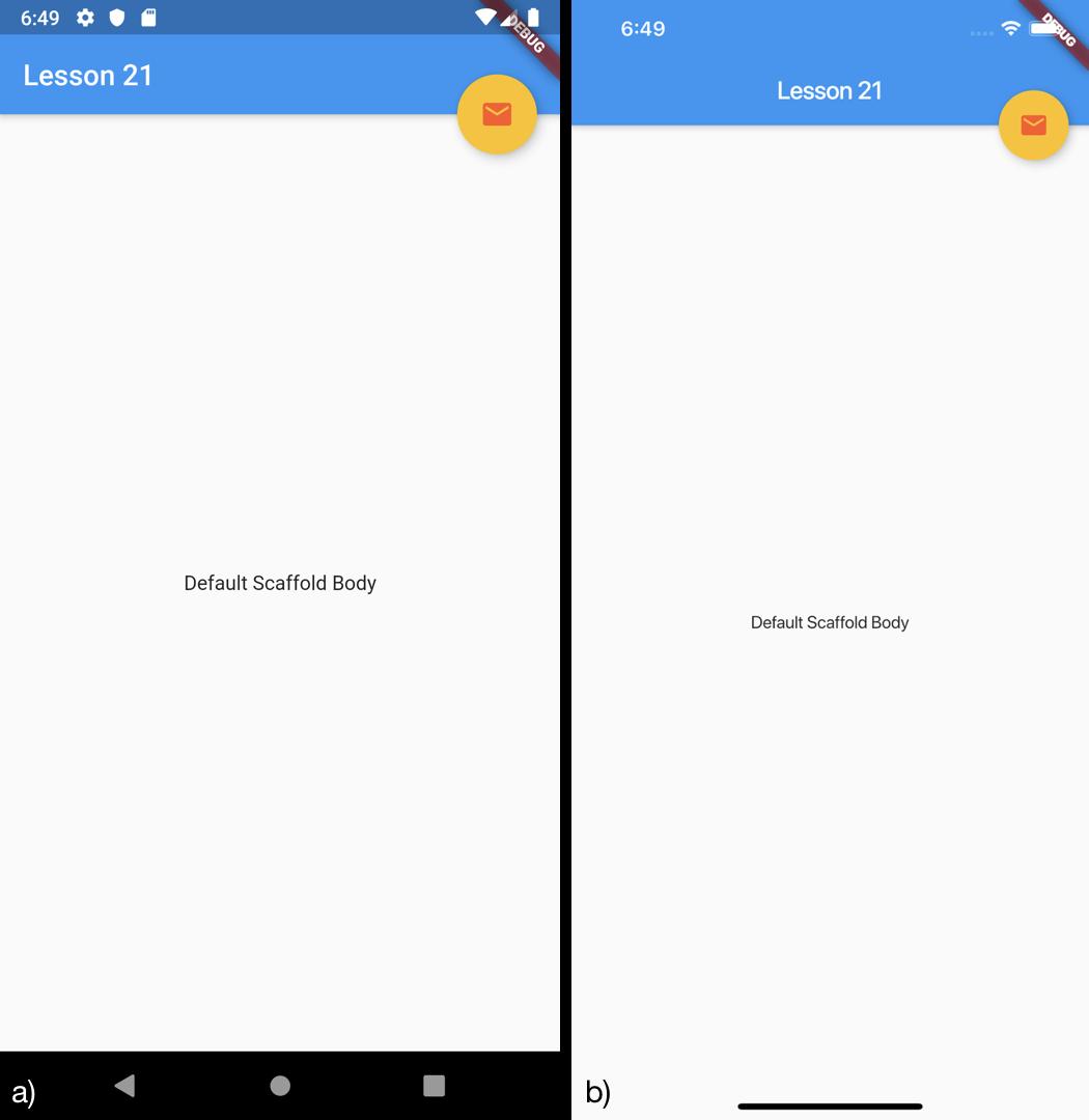 Posizionamento del FAB in alto a destra nello Scaffold per a) Android b) iOS