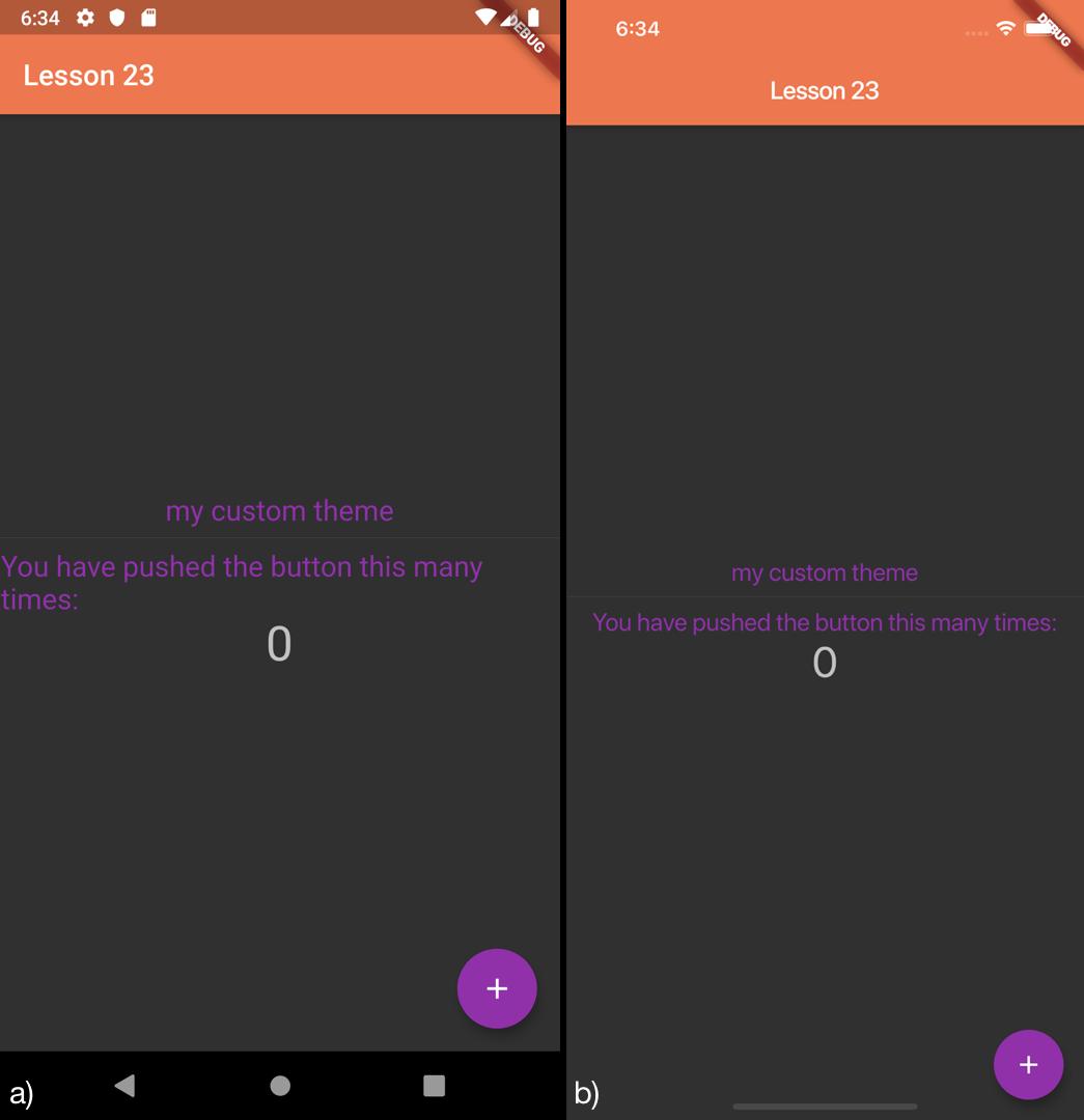Definizione di un tema personalizzato con brightness dark per a) Android b) iOS