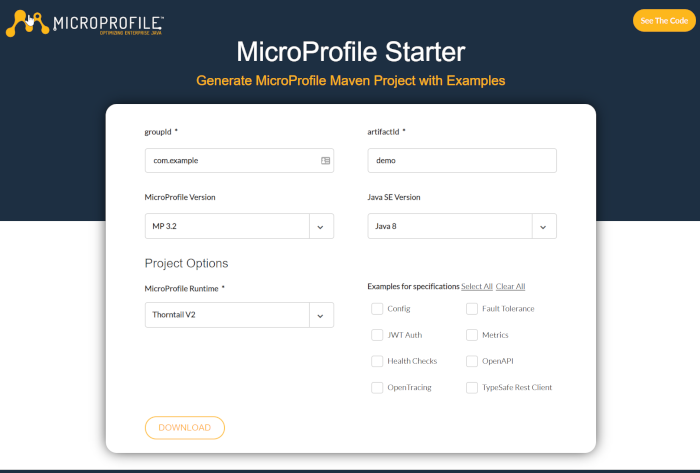MicroProfile Starter 1.0